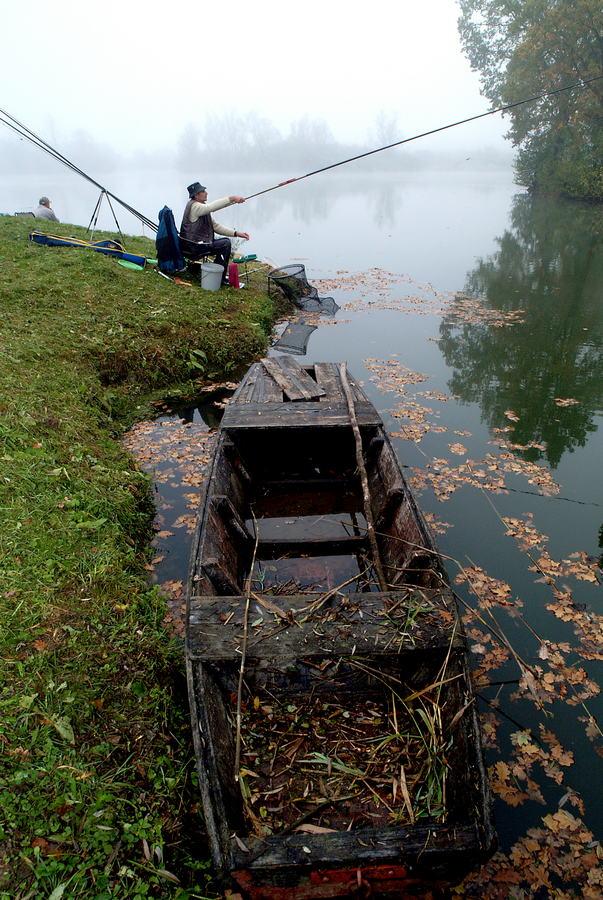 Ribič na jezeru Bajer